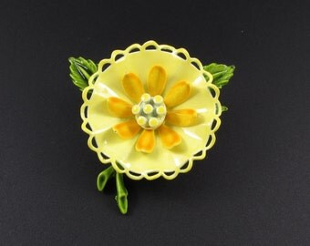 Enameled Flower Brooch, Yellow Flower Brooch, Yellow Brooch, Summer Jewelry, Spring Brooch