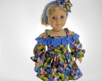 18 inch doll clothes made to fit dolls such as American Girl®,  Watercolor Hibiscus Flower Dress, 04-1041