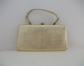 Gold Metallic Foil 60s Handbag