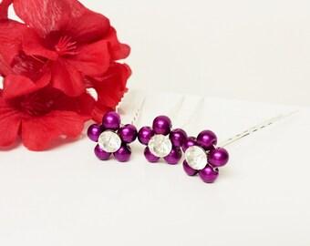 Violet Red Pearl Hair Pins - Set of 3 Bridesmaid Hair Pins - Rhinestone Flower Girl Hair Accessories