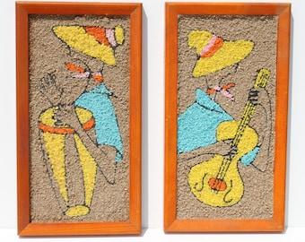Vintage Mid Century Modern Pebble Gravel Art Wall Art Bongo Guitar Musicians