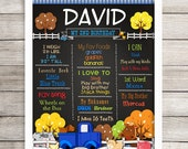 """Ready to Frame, Personalized Birthday Poster, 11"""" x 14"""", 16"""" x 20"""", 18"""" x 24"""", Pickup Truck, Little Farm Animals, Chalkboard Poster, Any Age"""