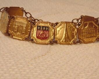 Vintage PARIS Bracelet Paris Jewelry Gold Bracelet Souviner Bracelet Souviner Jewelry Gold Link Bracelet Roadsidebridge