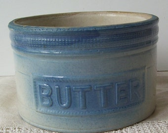 Antique Burley and Winter Blue Butter Stoneware Crock, Butter Pottery Crock, Farm House Primitive, Rustic Farm Kitchen, Open Butter