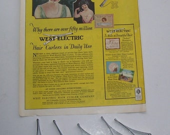 5 Metal West Electric Hair Curlers and Magazine Print Page Ad Dated 1923, West Electic Hair curler Co. Beauty Shop Ad, Flapper Style Hair