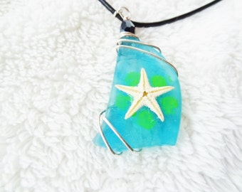 FINAL SALE Going out of Business - Silver Starfish on Aqua Blue Sea Glass Necklace - Beach Candies Collection