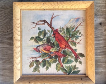 Antique Victorian framed linen cardinal bird fabric, vintage French or Spanish chinoiserie red bird antique fabric, vintage boho decor