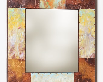 23 x 21 Copper and Metal Border Mirror