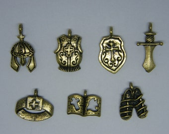 The Armor of God Collection - 7 antique bronze tone charms CC11