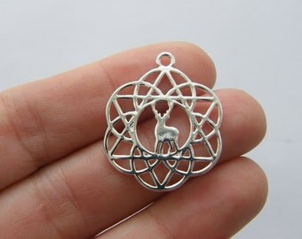 2 Flower of life deer charms silver plated tone M713