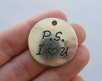 2 P.S. I love you charms antique silver tone M723
