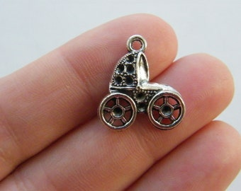 6 Baby pram charms antique silver tone BS51