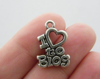 4 I love to blog charms antique silver tone PT80