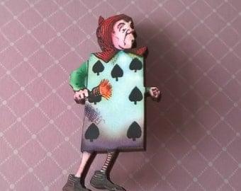 Alice in Wonderland Cards Brooch,Handmade Pin,Accessories,Alice in Wonderland Jewelry,Card  Brooch
