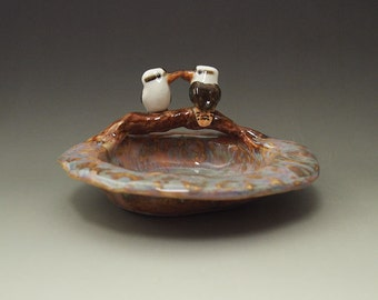 ceramic kookaburra sweet dish hand crafted one of a kind Anita Reay free form asymetrical Anita Reay AnitaReayArt