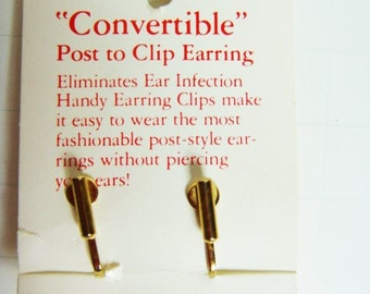 Convertible Post To Clip Earring - Goldtone