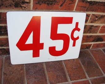 45 Cent Price Tag Sign - Primitive Price Sign - Large