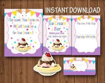 Girl Ice Cream Bar Sign/Ice Cream Sundae Bar Sign/Ice Cream Party/Ice Cream Social Sign/Ice Cream Tent Cards/Instant Download