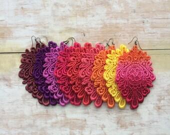 Sunrise Lemon yellow lace earrings/ New shades/ long earrings
