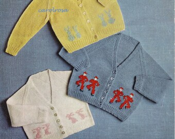 Knitting Pattern - Baby Motif Cardigans Jackets 18 to 24 months - Instant download PDF