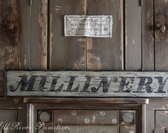 Early looking Antique Primitive MILLINERY Wooden Sign