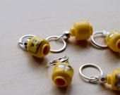 Lego Motorcycle Cop Stitch Markers - set of five