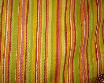 Yellow orange green pink STRIPE upholstery fabric home decor by the yard