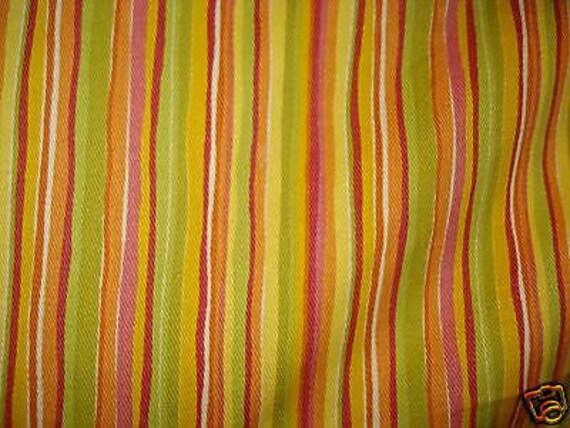 Yellow Orange Green Pink STRIPE Upholstery Fabric Home