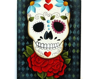 Sugar Skull, Handpainted Wood Tag with Stand, Hand Painted Home Decor, Wall Art, Day of the Dead, Dia de los Muertos, Tole Painting, B2