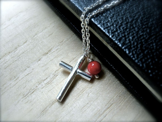 Girls cross necklace silver pendant with a petite red coral - Petite tiny cross pendant necklace - everyday necklace best gift idea