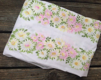 Vintage Pink White and Yellow Floral Flower Curtain Panel