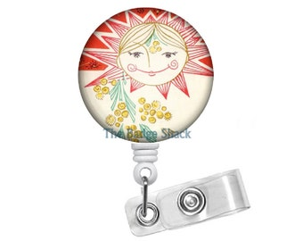 Colorful Sunshine - Retractable ID Badge Reel - Teacher Badge Holder - Cute Badge Reel - Nurse Badge Holder - Nursing Badge - Button Badge