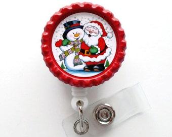 Frosty and Santa - Nursing Badge Holder - ER Nurse Badge Reel  - ER Name Badge - Nurses Badge - Cute Badge Reel