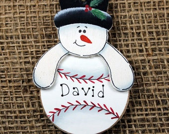 Baseball Snoman Handpainted Wooden Ornament, Personalized