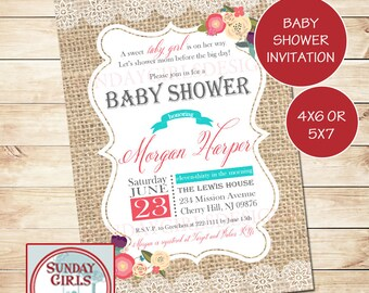 Burlap Lace Baby Girl Shower Invitation-Printable Custom Card- Vintage Coral and Turqoise