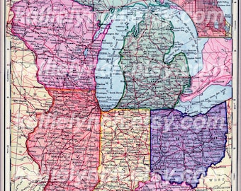 Antique Map Digital Collage Sheets - Midwest States - Copyright-Free Maps 0007