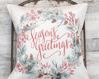 Farmhouse Decor Holiday Seasons Greetings Pillow Cover