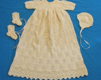 Feathered Lace Christening Gown