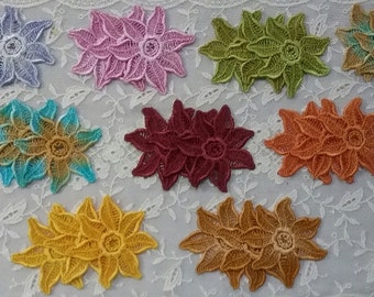 Daisy Star Fish Flower Lace Hand Dyed Venise Applique Embellishment