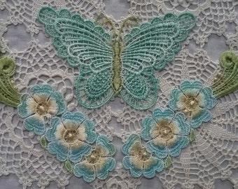 Aqua Butterfly Flower Lace Hand Dyed Venise Applique Crazy Quilt Embellishment