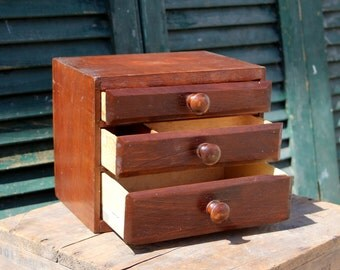 Vintage Pine Jewelry Box / Desk Organizer / Storage Box / Cigar Box Drawer