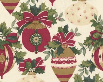Yuletide Holiday Christmas, White Ornaments, Anna Griffin Fabrics, # CF 2501 1 - FREE SHIPPING