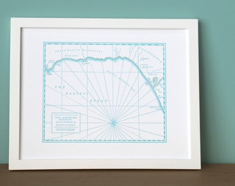 Los Angeles County, Malibu to Venice, Letterpress Map Art Print