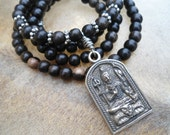 Shiva Pendant Mens Mala  Mala Necklace Mala Beads Mens Yoga Necklace Yoga Teacher Gift 108 Bead Mala Shiva Necklace Hindu Jewelry Mans Mens