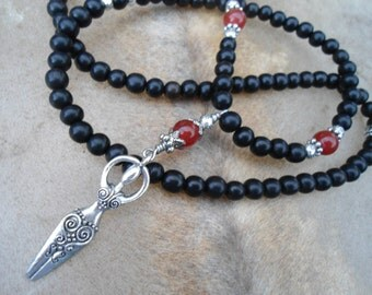 Goddess Necklace Priestess Jewelry Black Ebony Carnelian 108 Bead Mala Beads Mala Necklace Midwife Gift Doula Gift  Silver Goddess