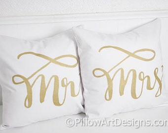 Wedding Pillows Mr and Mrs Pillow Covers White Cotton Fully Lined Hand Painted Calligraphy Style