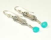 Turquoise Chalcedony Earrings - Sterling Silver Rose component - Blue Earrings - Dangle