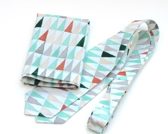 Pocket Square for Men - Green and Grey Triangle Print - Green Grey Coral Ivory Cream White Kerchief Hankie