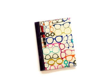 Journal notebook cover, composition notebook, back to school, eyeglasses design, modern travel journal, gift for her, reusable cover