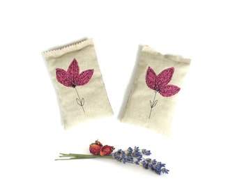 Lavender rose sachets, flower sachets, scented gift for her, appliqued flowers, aromatherapy home decor, berry pink